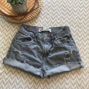 Levi's Distressed grey Distressed jean shorts sz 4